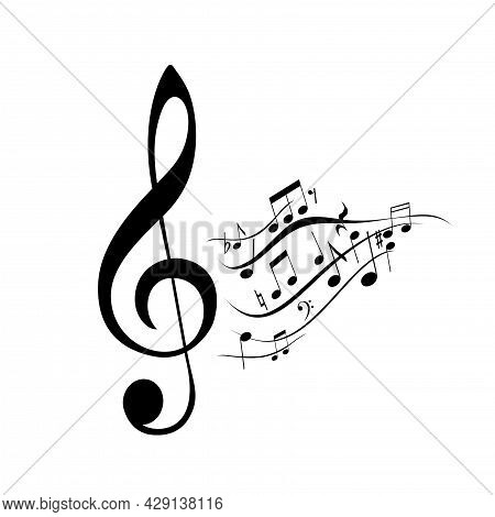 Sheet Music And Treble Clef Isolated On White Background. Musical Notes, Element Monochrome Design C