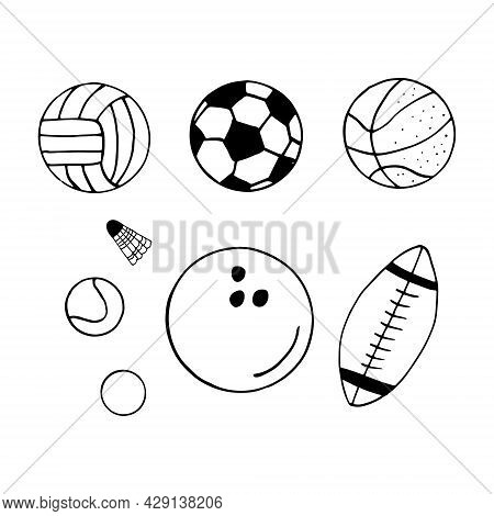 Balls Set. Hand Drawn Doodle Icon. Vector, Scandinavian, Nordic, Minimalism, Monochrome. Sports Equi