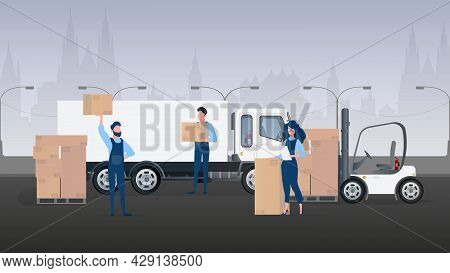 Freight Banner. Big White Truck. The Concept Of Transportation, Delivery And Logistics Of Goods. Vec