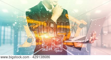 Mechanized Industry Robot Arm And Factory Worker Double Exposure . Concept Of Robotics Technology Fo
