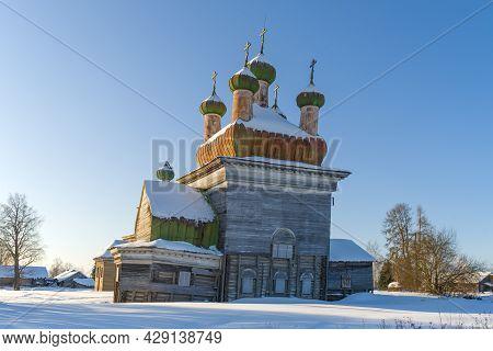 Ancient Wooden Church Of Michael The Archangel (1715) On A Sunny February Day. Shelokhovskaya. Arkha