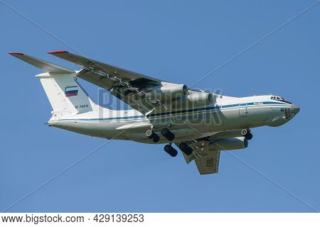 Saint Petersburg, Russia - May 29, 2021: Flying Heavy Military Transport Aircraft Il-76md (rf-76615)