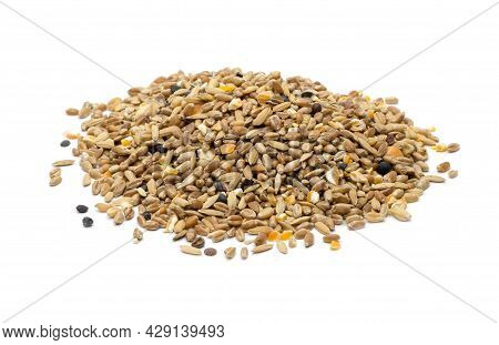 Pile Of Mixing Seeds Or Pigeon Mix Food On An Isolated White Background