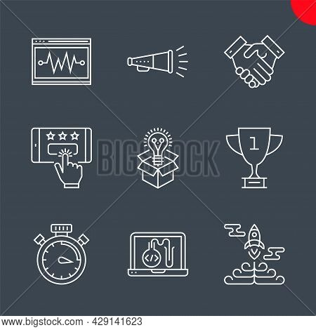Seo Related Vector Line Icons Set. Victory Strategy, Creative Package, Customer Reviews, Award, Prom