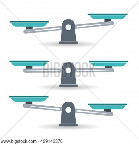 Bowls Of Scales In Balance, An Imbalance Of Scales. Libra, Vector Illustration