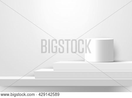 3d Display Realistic White Color Geometric Podiums Steps Stairs For Winner Award. Vector Illustratio