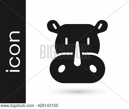Black Rhinoceros Icon Isolated On White Background. Animal Symbol. Vector
