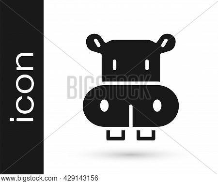 Black Hippo Or Hippopotamus Icon Isolated On White Background. Animal Symbol. Vector