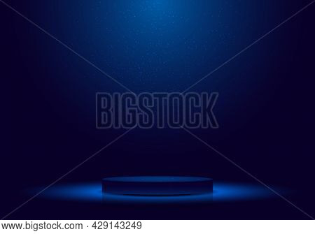 3d Realistic Dark Blue Podium With Lighting And Glitter Minimal Scene For Award Ceremony, Concert, W