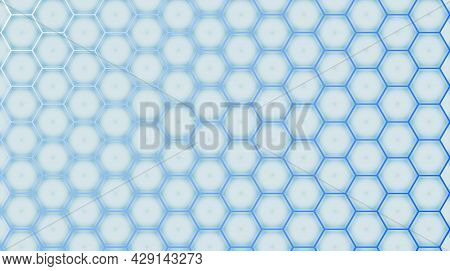 A Cold Blue Honeycomb With A Light Blue Glow Gett Stronger From Left To Right