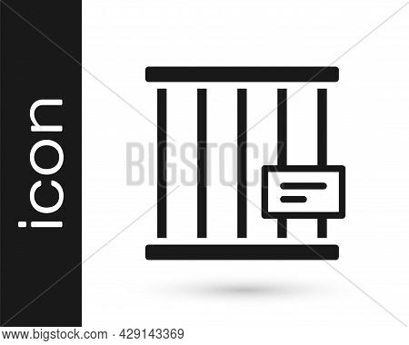 Black Animal Cage Icon Isolated On White Background. Vector