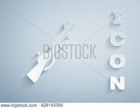 Paper Cut Hunting Gun Icon Isolated On Grey Background. Hunting Shotgun. Paper Art Style. Vector