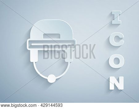 Paper Cut Hockey Helmet Icon Isolated On Grey Background. Paper Art Style. Vector