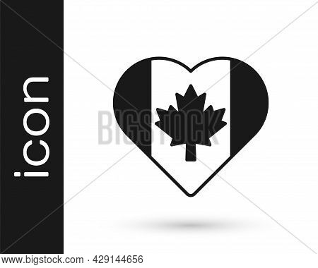 Black Heart Shaped Canada Flag Icon Isolated On White Background. Love Canada Symbol. Vector