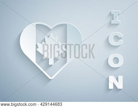 Paper Cut Heart Shaped Canada Flag Icon Isolated On Grey Background. Love Canada Symbol. Paper Art S