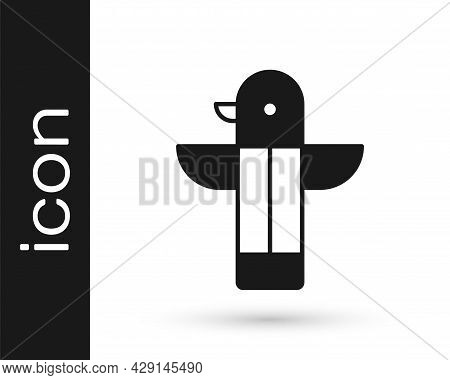 Black Canadian Totem Pole Icon Isolated On White Background. Vector