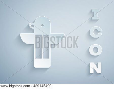 Paper Cut Canadian Totem Pole Icon Isolated On Grey Background. Paper Art Style. Vector