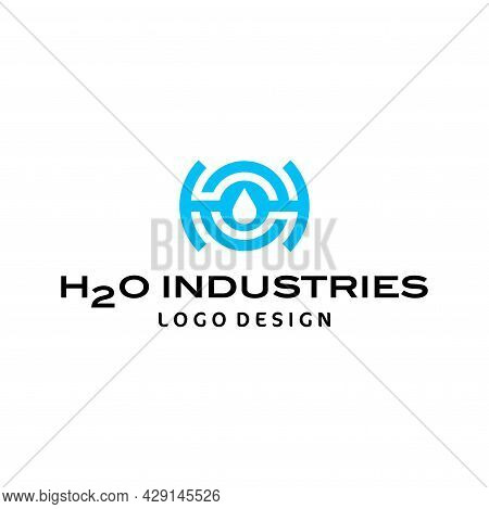 A Modern, Unique And Geometric Logo About H2o, Water And The Letter H2o. Eps 10, Vector.