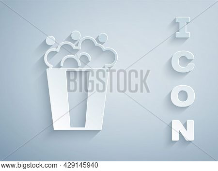 Paper Cut Popcorn In Cardboard Box Icon Isolated On Grey Background. Popcorn Bucket Box. Paper Art S