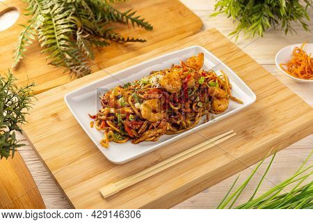 Typical Chinese Dish, Fresh Shrimp Stir Fried With Noodles