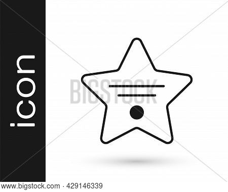 Black Walk Of Fame Star On Celebrity Boulevard Icon Isolated On White Background. Hollywood, Famous