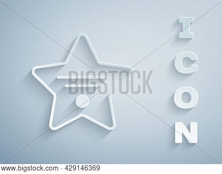 Paper Cut Walk Of Fame Star On Celebrity Boulevard Icon Isolated On Grey Background. Hollywood, Famo