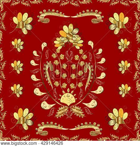 Classic Vintage Background. Seamless Pattern On Brown, Red And Yellow Colors With Golden Elements. T