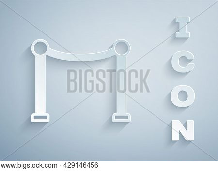 Paper Cut Rope Barrier Icon Isolated On Grey Background. Vip Event, Luxury Celebration. Celebrity Pa
