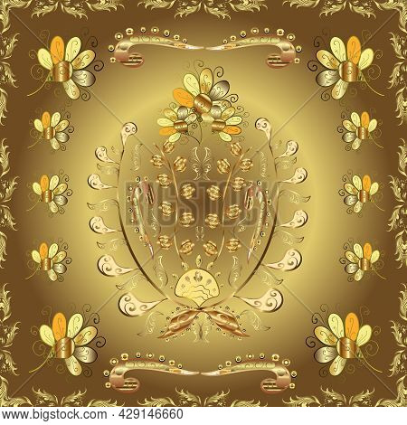 Seamless Golden Pattern. Golden Pattern On Brown, Neutral And Yellow Colors With Golden Elements. Ve