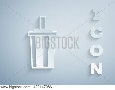 Paper Cut Paper Glass With Drinking Straw And Water Icon Isolated On Grey Background. Soda Drink Gla