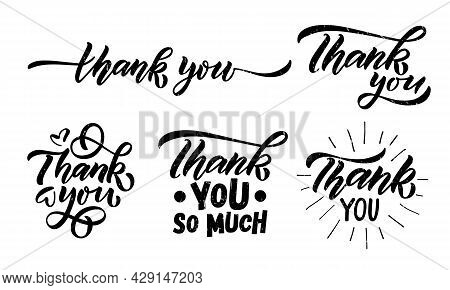 Hand Sketched Thank You Lettering Typography. Handwritten Inspirational Quote Thank You