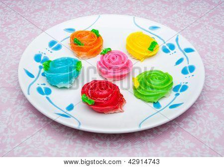 Crispy Sticky Dumpling/ Colorful Of Thai Dessert Named Aa- Lua In Rose Shaped