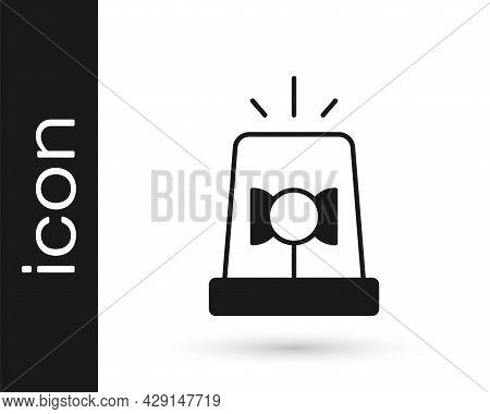 Black Flasher Siren Icon Isolated On White Background. Emergency Flashing Siren. Vector