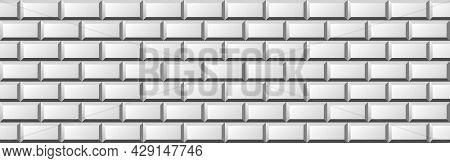 Light Background With Metro Ceramic Tiles. Subway White Tiles Pattern