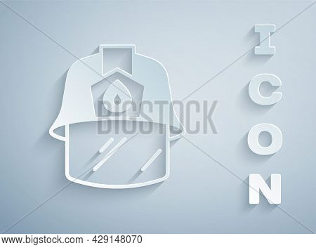 Paper Cut Firefighter Helmet Or Fireman Hat Icon Isolated On Grey Background. Paper Art Style. Vecto
