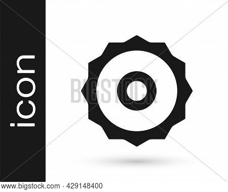 Black Circular Saw Blade Icon Isolated On White Background. Saw Wheel. Vector
