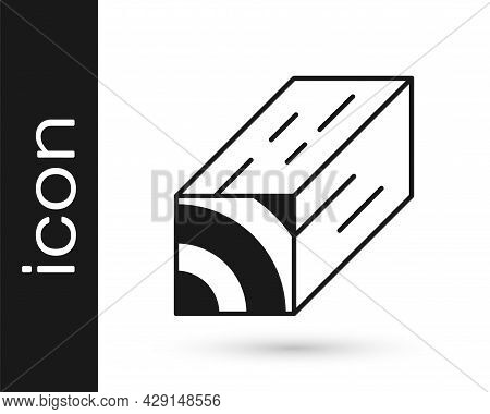 Black Wooden Beam Icon Isolated On White Background. Lumber Beam Plank. Vector