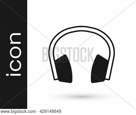 Black Noise Canceling Headphones Icon Isolated On White Background. Headphones For Ear Protection Fr