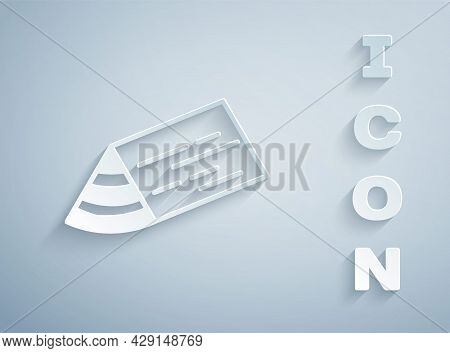 Paper Cut Wooden Beam Icon Isolated On Grey Background. Lumber Beam Plank. Paper Art Style. Vector