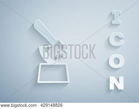 Paper Cut Wooden Axe In Stump Icon Isolated On Grey Background. Lumberjack Axe. Axe Stuck In Wood. C