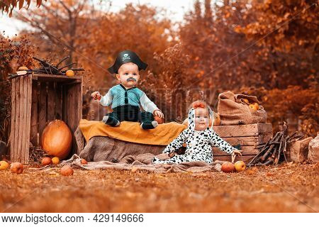 Halloween. A Boy In A Pirate Costume And A Girl In A Dalmatian Costume, Surrounded By Pumpkins And A