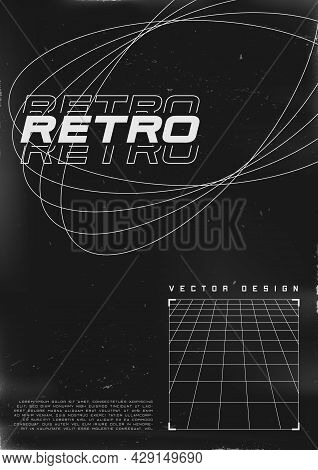 Retrofuturistic Poster Design. Cyberpunk 80s Style Poster With Ellipse Contour Shapes And Perspectiv