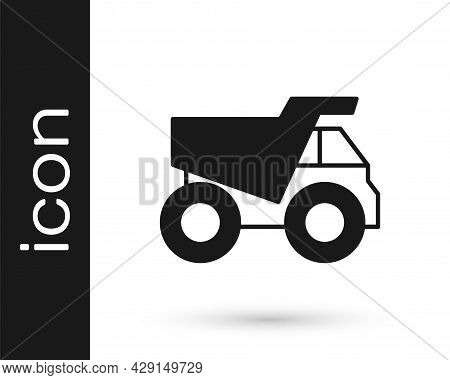 Black Mining Dump Truck Icon Isolated On White Background. Vector