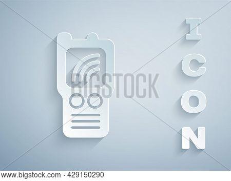Paper Cut Walkie Talkie Icon Isolated On Grey Background. Portable Radio Transmitter Icon. Radio Tra