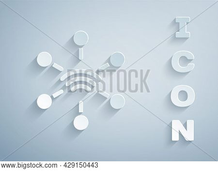 Paper Cut Network Icon Isolated On Grey Background. Global Network Connection. Global Technology Or
