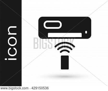 Black Air Conditioner Icon Isolated On White Background. Split System Air Conditioning. Cool And Col