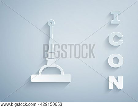 Paper Cut Antenna Icon Isolated On Grey Background. Radio Antenna Wireless. Technology And Network S