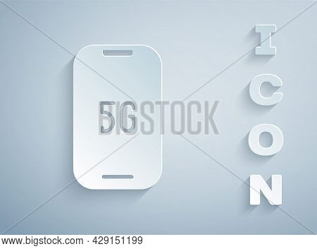 Paper Cut Mobile With 5g New Wireless Internet Wifi Icon Isolated On Grey Background. Global Network