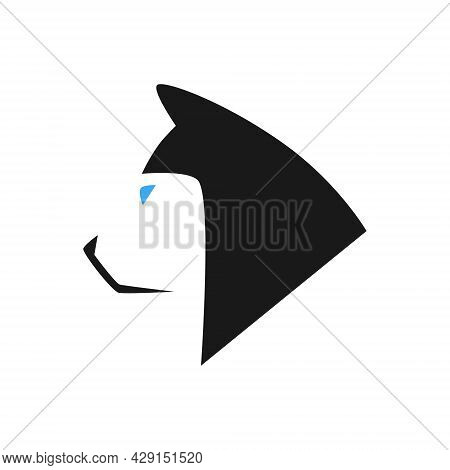 Abstract Husky Dog Head Portrait Side View Symbol On White Backdrop. Design Element
