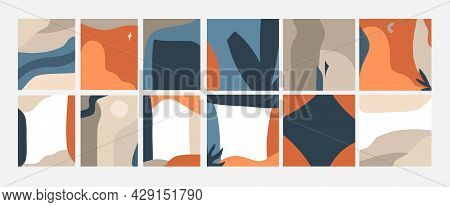 Hand Drawn Vector Abstract Stock Graphic Illustration Art Cards Set, With Modern Collage Minimal Geo